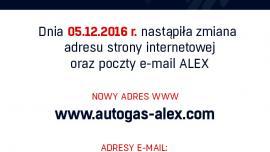 Zmiana adresu strony internetowej oraz poczty e-mail ALEX
